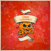 Halloween card with a pumpkins. — Stock Vector