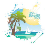 Best summer tours design in form of blot. — Stock Vector