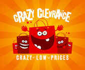 Crazy clearance design with bags — Stock Vector
