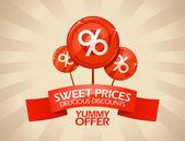 Delicious discounts design. — Stock Vector