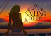 Romantic tours design template — Stock Vector