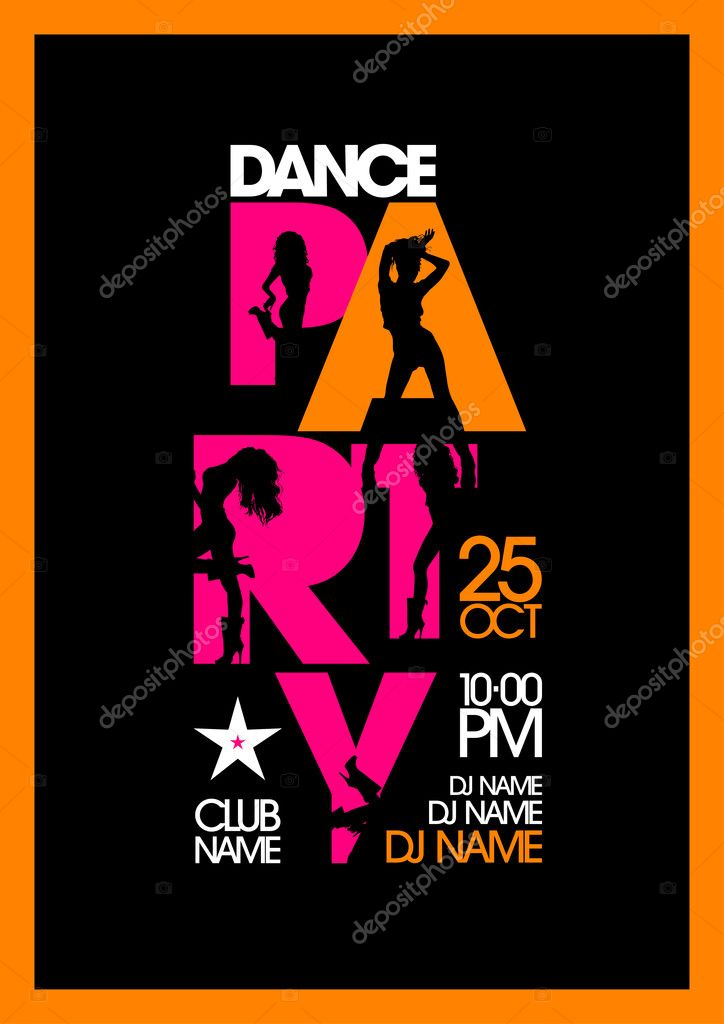 Dance party design with fashion girls. — Stock Vector © slena ...