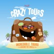 Crazy tours design template. — Stockvectorbeeld