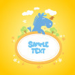 Baby frame with funny horse. — Stock Vector