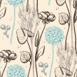 Stock vektor: Vintage flower pattern.