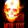 Stock Vector: Metal fest design template with skull in flames.