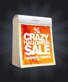 Crazy halloween sale design in form of calendar. — Vettoriale Stock
