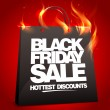 Fiery black friday sale design. — Stock Vector