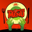 Halloween menu card design with zombie hands. — Stock Vector