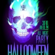 Halloween party design with skull in flames. — Imagen vectorial