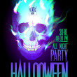Halloween party design with skull in flames. — Векторная иллюстрация
