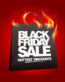 Fiery black friday sale design. — Stock Vector