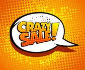 Gek verkoop zeepbel praten in popart stijl. — Stockvector