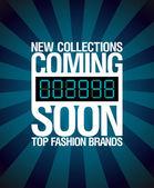 Nya kollektioner, kommer snart design. — Stockvektor