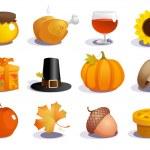 Thanksgiving day symbols. — Stock Vector