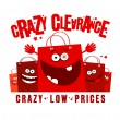 Crazy clearance illustration with bags — Stock Vector