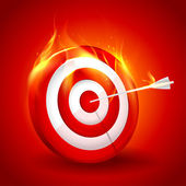 White and red burning target — Stock Vector