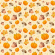 Background with leaves, acorns and pumpkins. — Stok Vektör