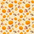 Background with leaves, acorns and pumpkins. — Stock vektor