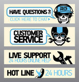 Customer service support banners — Stock Vector