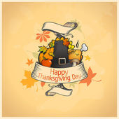 Thanksgiving day card with ribbon. — Stock Vector