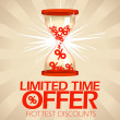 Limited time offer design with hourglass. — Stock Vector