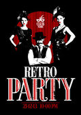 Retro party design with old-fashioned girls and man. — Cтоковый вектор
