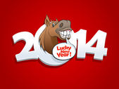 2014 year design with horse talking lucky new year. — Stock Vector