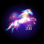 2014 новый год дизайн с мультфильма лошади. — Cтоковый вектор
