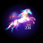 2014 new year design with cartoon horse. — Vector de stock