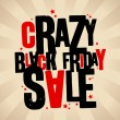 Black friday sale crazy banner. — Stock Vector