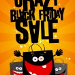 Crazy black friday sale design with bags. — Imagens vectoriais em stock