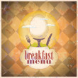 Retro breakfast menu card design. — Stock Vector