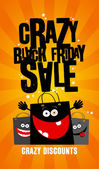 Crazy black friday sale design with bags. — Stock Vector