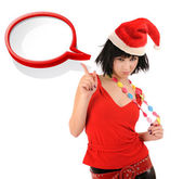 Girl in Santa hat with speech bubble. — Stock Photo