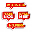 Stock Vector: I am bestseller, buy me.