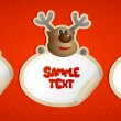 New year stickers with Santa, deer and snowman. — Imagen vectorial