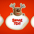 New year stickers with Santa, deer and snowman. — Image vectorielle