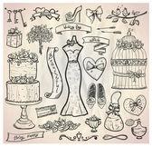 Wedding bridal graphic set. — Stock Vector