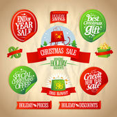 New year and Christmas sale designs collection. — Vector de stock