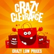 Stock Vector: Crazy clearance banner
