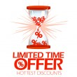 Limited time offer hourglass symbol. — Stockvector
