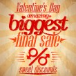 Stock Vector: Valentine biggest sale typographic design.