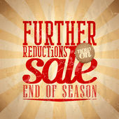 Further reductions sale design retro style. — Stock Vector