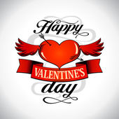 Valentine day design with winged heart. — Stock Vector