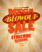 Mega blowout sale design retro style. — Stock Vector
