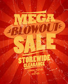 Mega blowout sale, storewide clearance design. — Stock Vector
