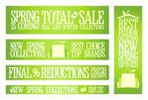 Spring fashion banners voor verkoop en nieuwe collecties. — Stockvector