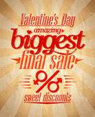 Valentine biggest sale typographic design. — Stock Vector