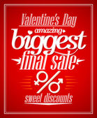 Valentine day amazing sale typographic design. — Stock Vector